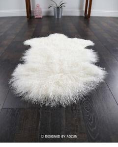 60cm-100cm-NEW-GENUINE-MONGOLIAN-SHEEPSKIN-LAMB-WOOL-FUR-rug