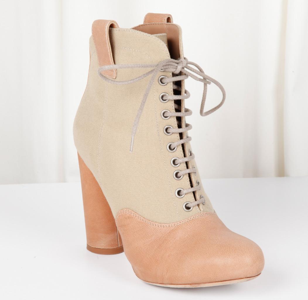 Loeffler Randall Damen Beige Hautfarben Zum Schnüren High-Heels Stiefeletten