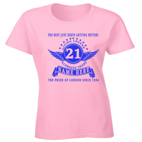 Personalised Ladies 21st Birthday T-Shirt Add Name Age Year Place Gift idea 18th