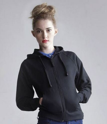 Skinnifit SK50 Ladies Zip Hoodie Jacket Black Hoody Jumper Size S 8-10 T3LD#