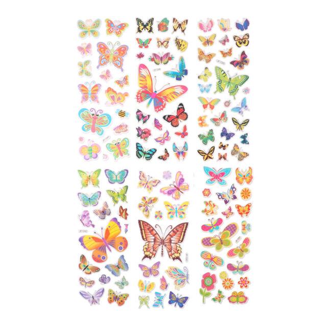 6 Sheets Lovely Butterfly Scrapbooking Bubble Puffy Stickers Reward Kids Toys HU