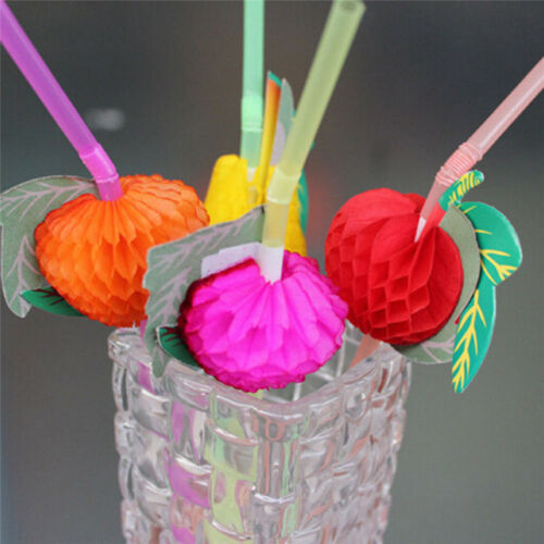 20//40X Paper Parasol Umbrella Fruit Tea Cocktail Drink Straws Party Decor TTE