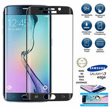 Samsung Galaxy S7 Edge 3D FULL CURVED BLACK Tempered LCD Glass Screen Protector
