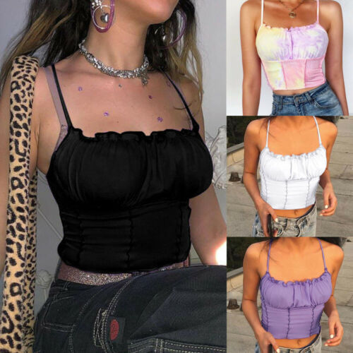 Womens Ruffle Crop Top Summer Sleeveless Party Blouse Shirt Boob Cami Vest Tops