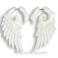 COPPIA! Fake piercing gioielli Orecchini Corno Bone angelo ala CIGNO Plug f118