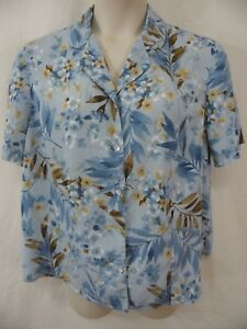 0249f27336 Alfred Dunner PLUS 16W 1X Blue Floral SS Polyester Button Down ...