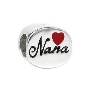 98df614a7 Sterling Silver Love Nana Great Grandma Red Heart for European Charm ...