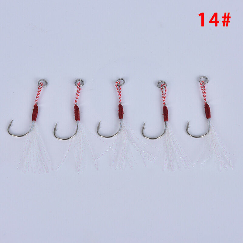 20pc Assist Fishing Hook Jig Bait Carbon Stainless Steel Fishhook with PE L DL