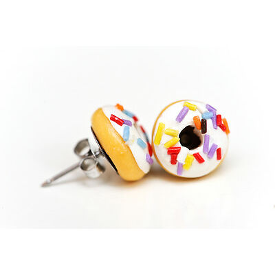 White iced donut stud earrings - with long sprinkles - doughnut studs - food jew