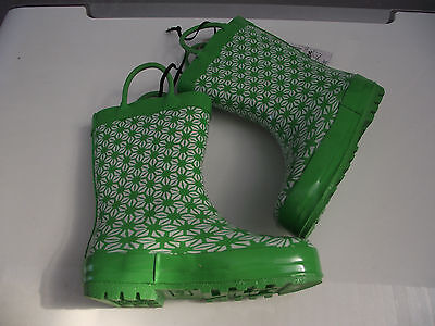 BNWT Little Girls Sz 11 Rivers Doghouse Brand Teal and Brown Mid Length Gumboots