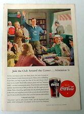 1946 COCA COLA AD YOUNG PEOPLE AT LOCAL NEIGHBORHOOD SODA FOUNTAIN SHOP COKE