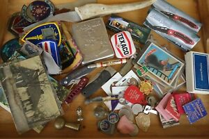 Antique-Vintage-Junk-Drawer-Lot-Pocket-Knives-Military-Patches-Cards-Pins-Case
