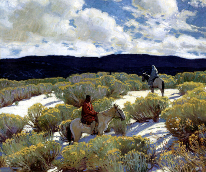 RIDERS AT SUNSET INDIAN AMERICAN WEST PAINTING BY E. MARTIN HENNINGS REPRO