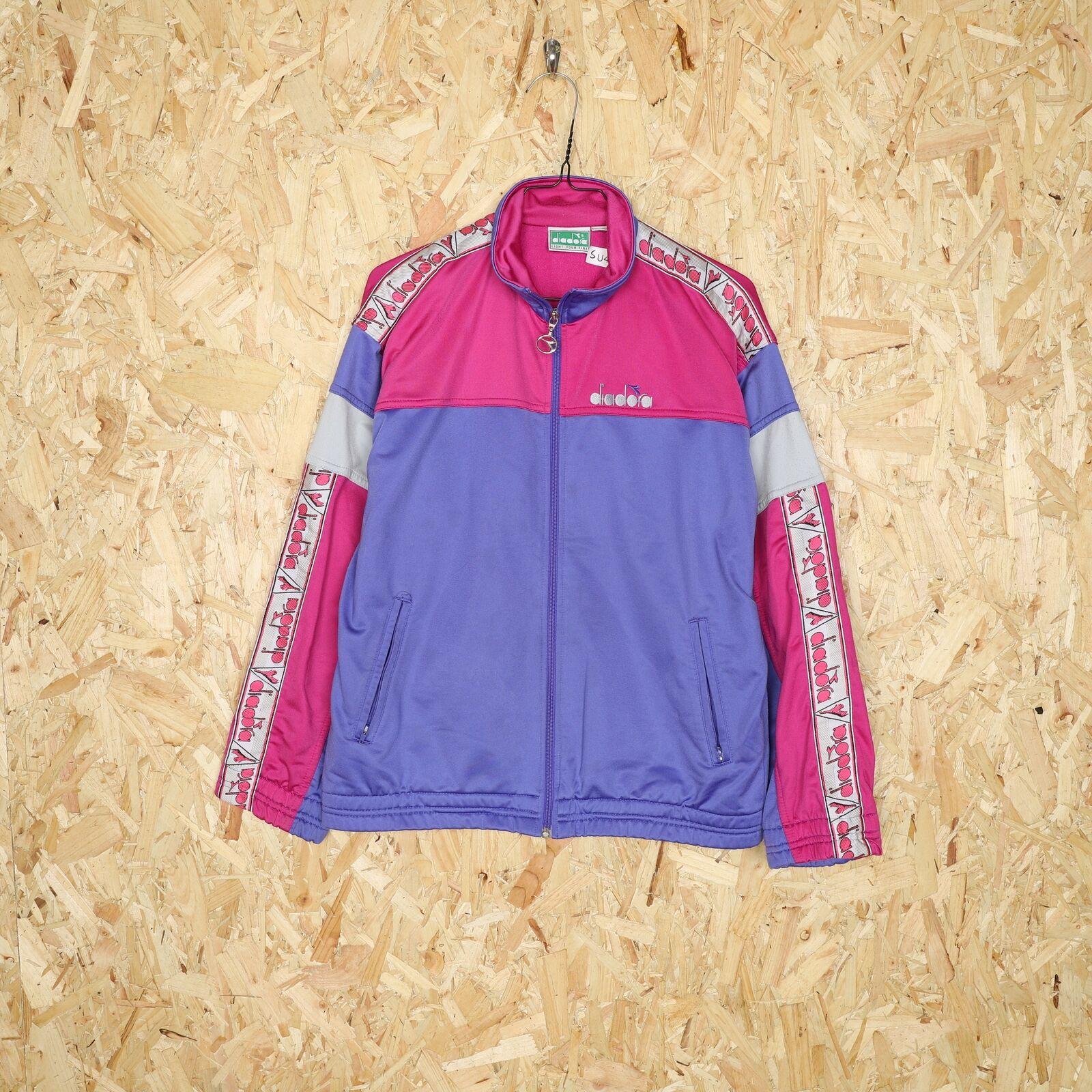 90s DIADORA Tape Logo Tracksuit Top Jacket Purple | Small S