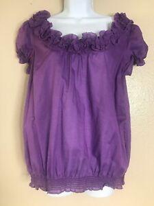 Women-Ann-Taylor-Loft-Ruffle-Size-Medium-Blouse-Scoop-Neck-Sleeveless-Purple-Top