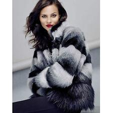 Coast Luxury Posh Soft Faux Fur Grey Blue Colour Block Jacket Coat 18 £195 New