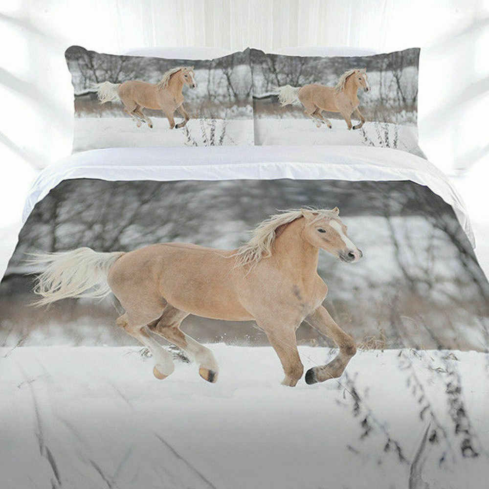 Horse Duvet Doona Quilt Cover Set   Animal   Winter Gallop   Just Home   Double