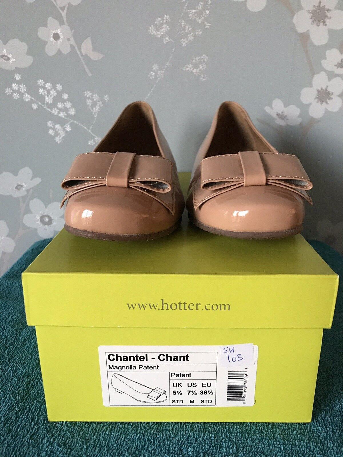 Ladies Hotter Heeled Chantel shoes Uk 5.5 Patent Leather Magnolia BNWB