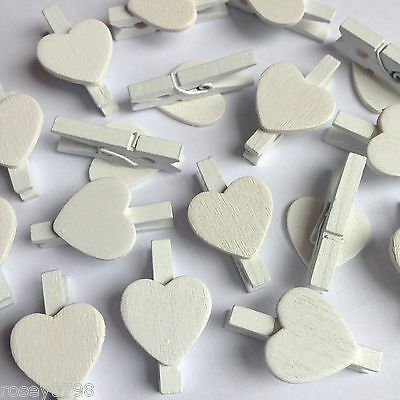 12 x Mini WHITE Heart Pegs, wooden wedding table place card holders shabby chic