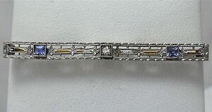 Art-Deco-Krementz-14K-Gold-Platinum-Top-Diamond-Natural-Sapphire-Bar-Brooch-Pin