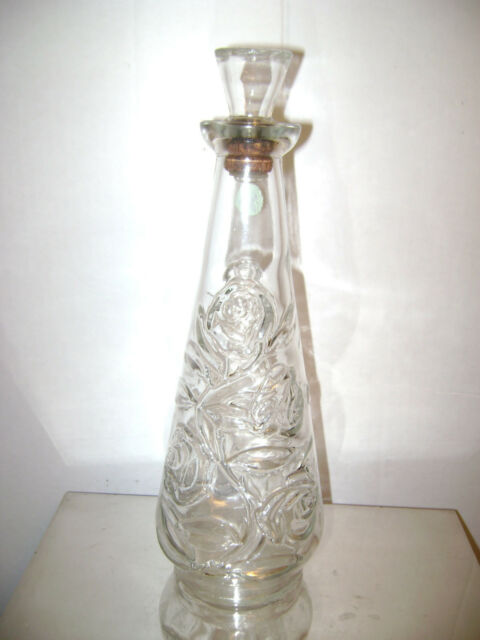 VINTAGE FOUR ROSES CLEAR GLASS WINE DECANTER BOTTLE