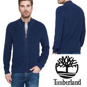 Timberland-Milford-Blue-Mens-Cardigan-Cotton-Full-Zip-Jumper-Top-Jacket-S-3XL