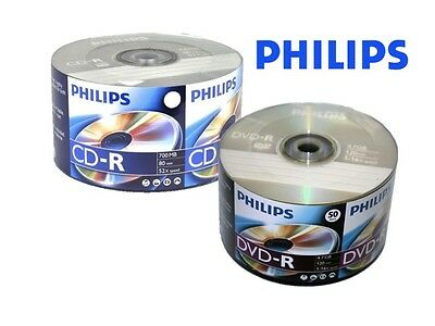 100 PHILIPS DVD-R CD-R Blank Disc Combo (50-PK 16X DVD-R  & 50-PK 52X CD-R)