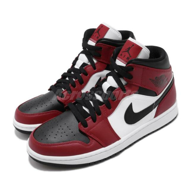 Nike Air Jordan 1 Mid Chicago Black Toe Gym Red White Men Shoes