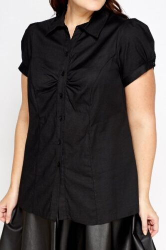 SIZE 16 18 20 22 24 26 28 30 32 BLACK FITTED RUFFLE SHORT SLEEVE SHIRT BLOUSE