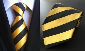 Or-Jaune-Cravate-noire-a-rayures-fait-main-100-Soie-Mariage-Club-Cravate
