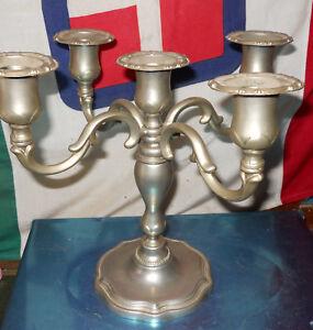 Clever Candeliere Candelabro Vintage Ottone Peltro Molto Bello Argentato 24 Cm Ca An5 To Produce An Effect Toward Clear Vision Silver
