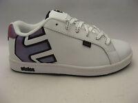 Etnies Girls Fader White Leather Skate Shoes 6 Fuchsia Sparkle Logo Sneakers
