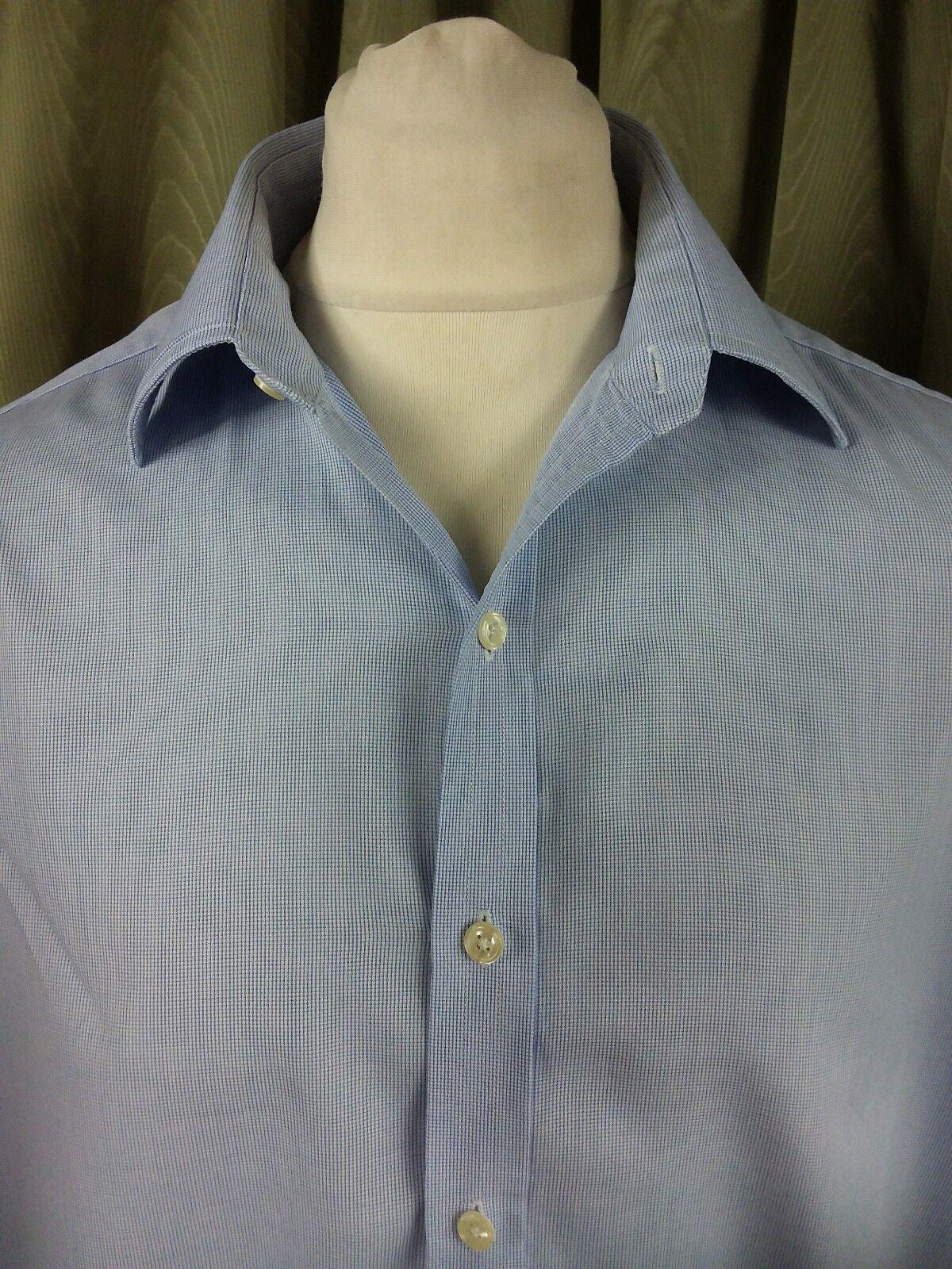 Turnbull & Asser 100% baumwolle Blau Micro Check Double Cuff hemd 16.5  C44