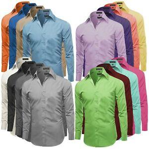 Omega Italien Herren Prämie Slim Fit Knopfleiste Langarm Volltonfarbe Dress Shirt