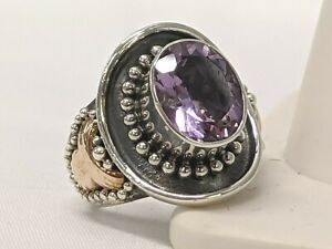 925 Sterling Silver w//Real 14kt Amethyst Antiqued Charm