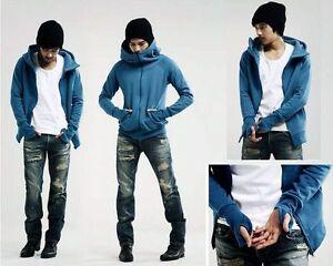 New-fashion-Korean-men-039-s-slim-fit-hoodie-sweater-cardigan-jacket-coat-sweatshirt