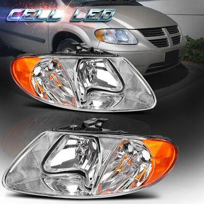 2001-2007 Dodge Caravan Chrysler Town /& Country Black Replacement Headlight Pair