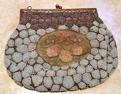 Exquisite 1930s Con Perline Borsa Da Sera Con Pannello Ricamato A Mano- Acquisto Speciale