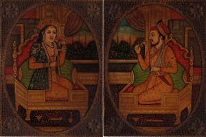 Mughal-Ritratto-Pittura-Mano-Antico-Effetto-Shah-Jahan-Mumtaz-Mahal-India-Art