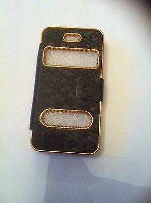 Full Luxury Leather look Case Cover for Apple iPhone 4 4G 4S black NEW