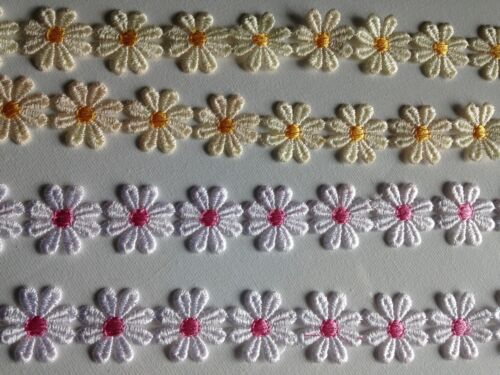 Daisy Chain Lace Trim trimming applique by 1m PINK or YELLOW Guipure embroidered