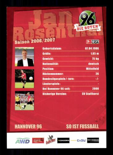 Jan Rosenthal Autogrammkarte Hannover 96 2006-07 Original Signiert+A 181325