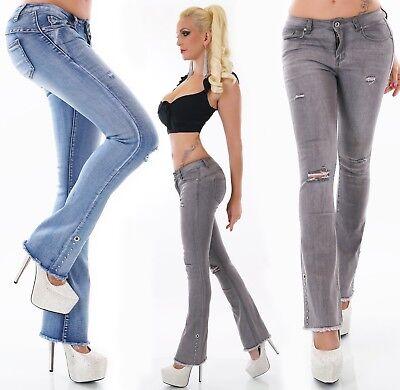 Damen Jeans Hose BootCut Schlag Stretch ausgefranst Nieten