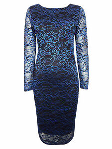 Vestido-de-Encaje-ZUPPE-Impresionante-Negro-Azul-cenido-al-cuerpo-reg-y-mas-tamano-8-10