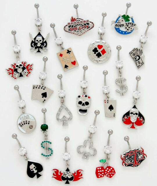 10pc Las Vegas Mix Dangle Navel Rings 14g Naval Wholesale Belly Lot (B135)