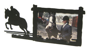 Hunter-Jumper-Horse-Black-Metal-Picture-Frame-3-5-034-x5-034-3-034-x5-034-H-Hunting-Jumping