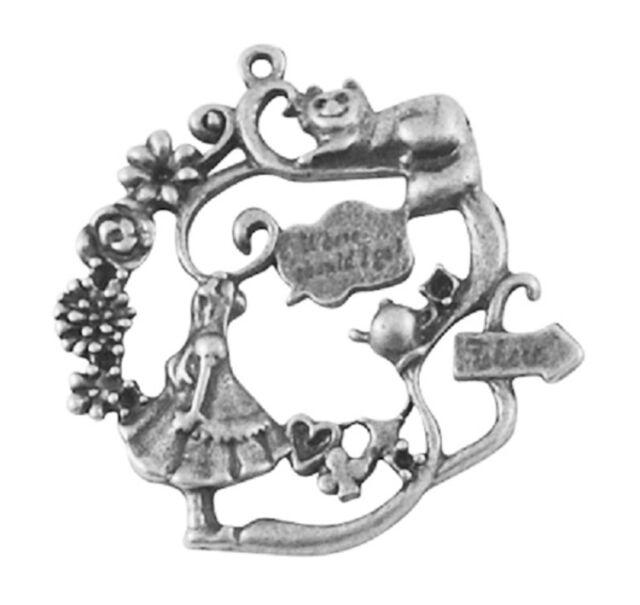 3 Antique Bronze Antique Silver Alice In Wonderland /Cat/Teapot Charms NF LF