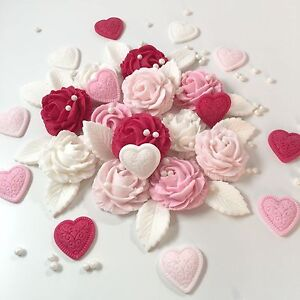 Mixed Pink Roses Love Hearts Bouquet Sugar Edible Flowers Cake