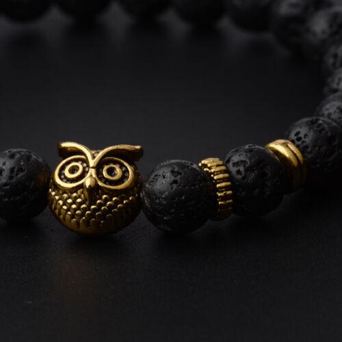 Mens Spot Natural Lava Stone Gold Silver Owl 8MM Beaded Charm Bracelet 7.5/'/'