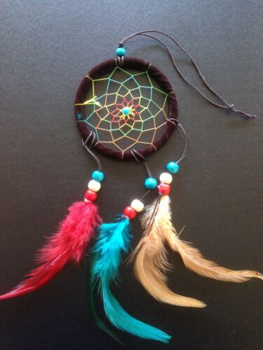 Dream Catcher Real Feathers Real Wood Beads 4 Colours Bohemian Hippie Gift